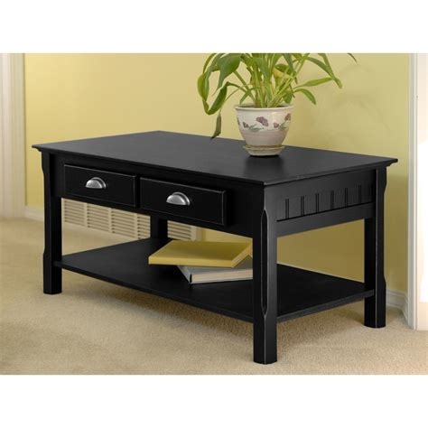 Black Rectangular Coffee Table Shop Winsome Wood Timber Black Rectangular Coffee Table At Lowes