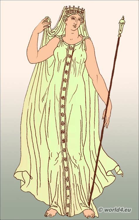 design roman clothes demeter with clasp fastened chiton and veil grčka