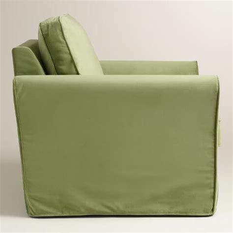 green chair slipcover oregano green velvet loose fit luxe chair slipcover