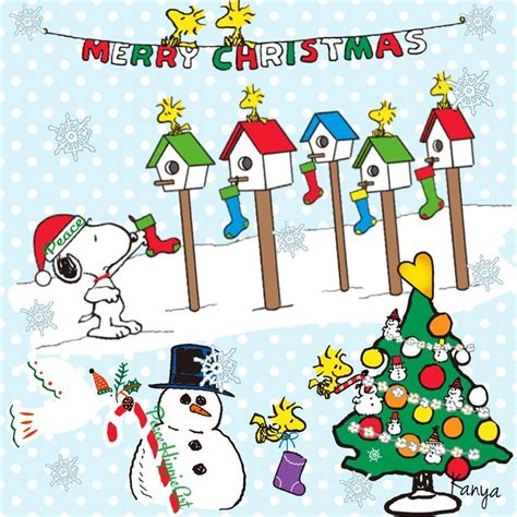 merry christmas snoopy decorating birdhousesand woodstock  friends decorating  christmas
