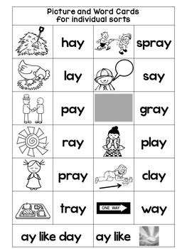 ai spelling pattern worksheets vowel team ai and ay phonics with word sorts nursery