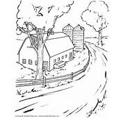 Farm Life Scene Coloring Pages  Printable Barn And Silo