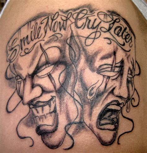 laugh now cry later tattoo meaning tatuaje chicano 纹身 clown