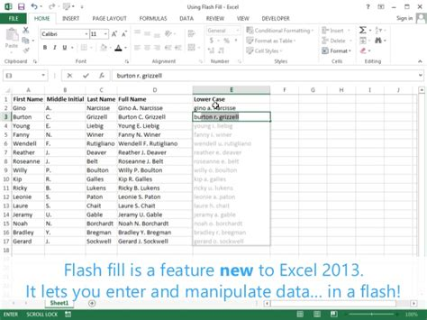 flash tutorial with exle using flash fill excel 2013 tutorial