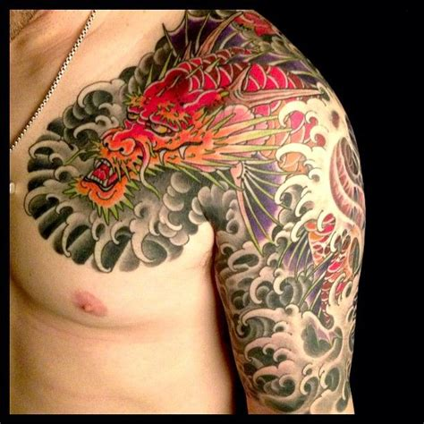 half chest piece tattoos awesome japanese half sleeve chest mike