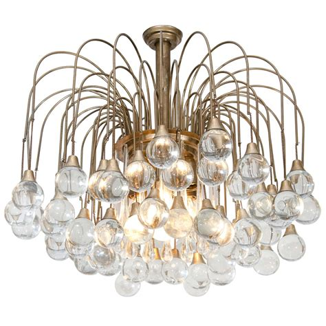 Glass Chandelier Drops Mid Century Chandelier With Clear Glass Drops At 1stdibs