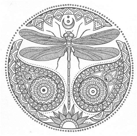 Mandalas Dragonfly Coloring Color Me Happy Printable