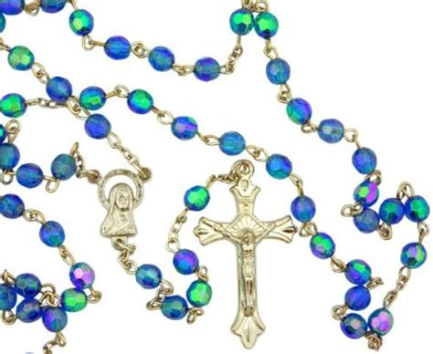 outdoor light up rosary galleon light blue borealis style glass 6mm bead