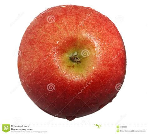Apple Top apple with drops of water top view stock photo image