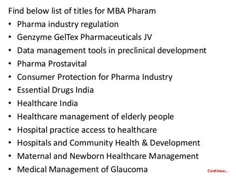 After Mba Pharmaceutical Management by Project Report Titles For Mba In Pharma