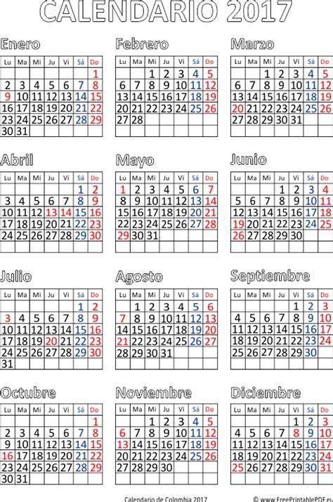 calendario de colombia 2017 imprimir el pdf gratis