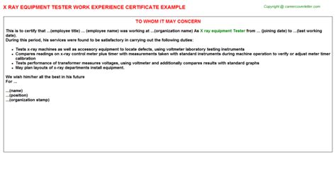 certification letter for equipment x equipment tester work experience certificate