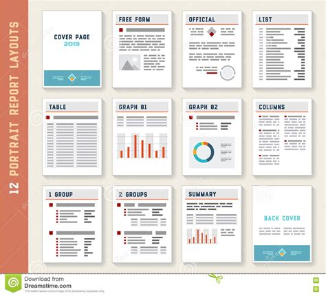 document layout templates document report portrait layout templates mockup set stock