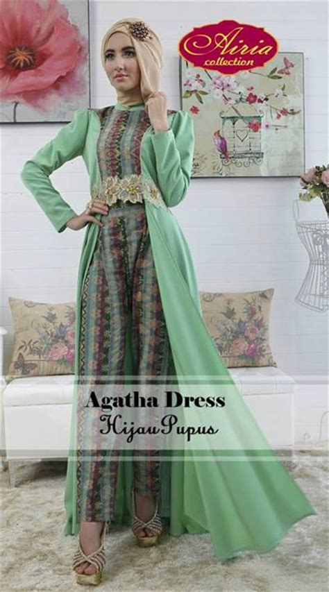 Gamis Syar I Hijau Pupus aghata dress hijau pupus baju muslim gamis modern