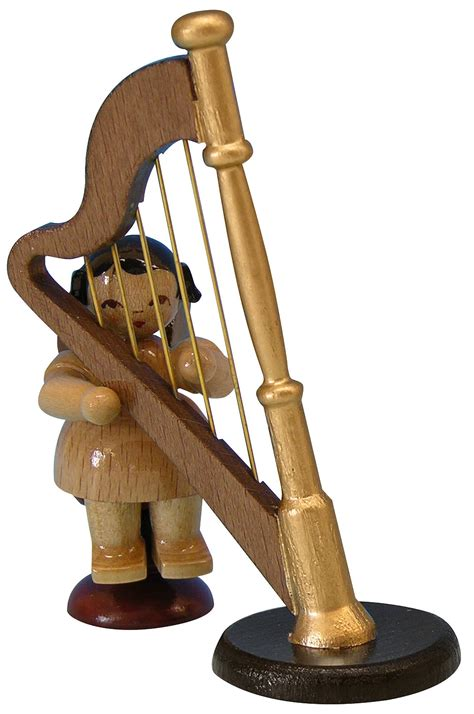 6 inch l harp angel with harp natural colors sitting 6cm 2 3in by