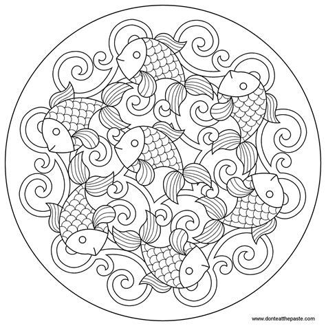 fish mandala coloring page don t eat the paste goldfish mandala