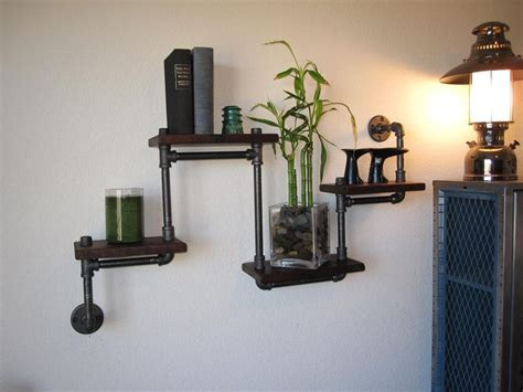 plumbing pipe shelves the original four tier walnut pipe shelf