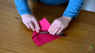 Folding Silverware In Paper Napkins - how to make a napkin roll up