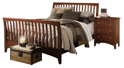 Solid Wood Sleigh Bed Gathering House Solid Wood Sleigh Bed In Cherry Furniture By Bedroom Furniture