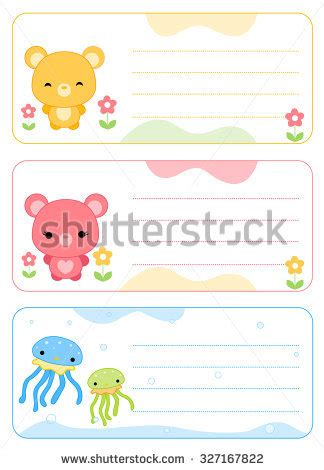 stuffed animal name card template child name stock images royalty free images vectors