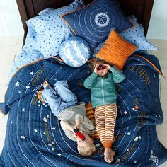 kids blue solar system bedding the land of nod 1000 images about kids space themed room on pinterest