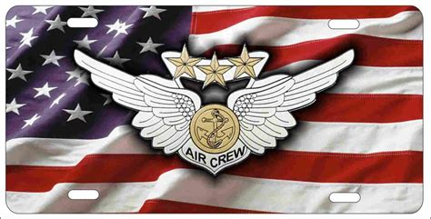 Decorative License Plates For Front Of Car by Air Crew Combat Wings On American Flag Personalized