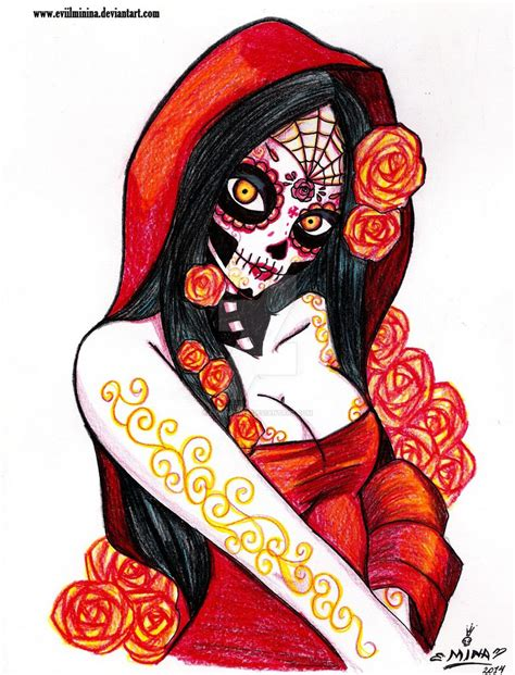 imagenes mujeres pintadas de catrinas la catrina in red by eviilminina on deviantart