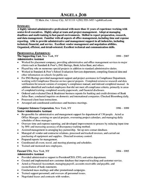 sle resumes for executives administrative assistant resume sle bullets 28 sle