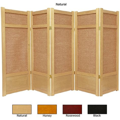 5 panel room divider spruce wood and jute 5 panel room divider china overstock shopping great deals on