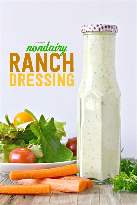 vegan ranch dressing fork and beans