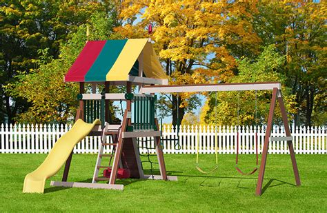 play mor swing sets prices poly summit tower series d s storage barns