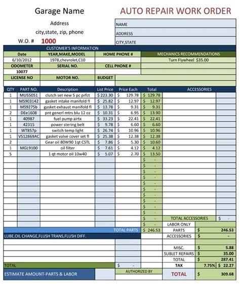 Auto Repair Shop Work Order Template Auto Repair Work Order Template