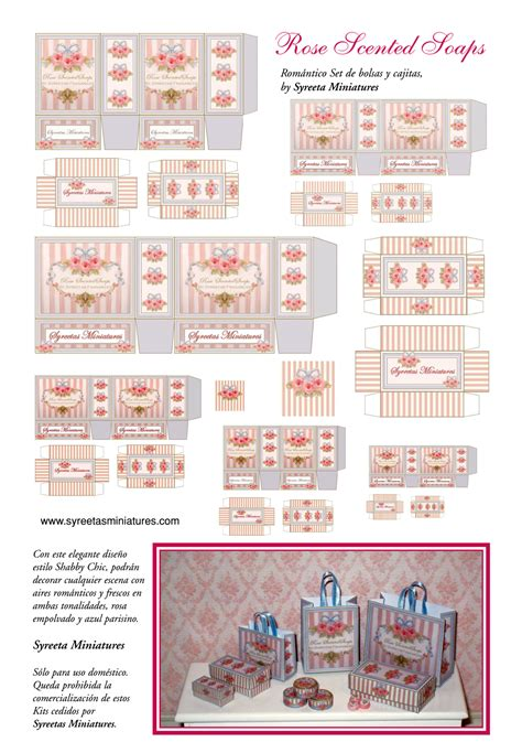printable dolls house labels miniature printables rose scented soap bags and boxes