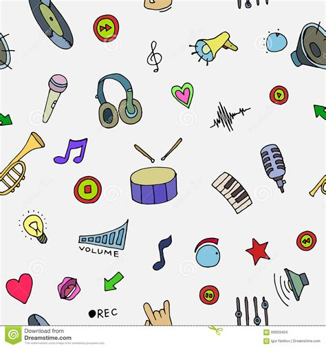 musical doodle free mp3 doodle symbols seamless pattern stock vector