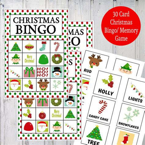 printable christmas memory cards printable christmas bingo memory game instant download