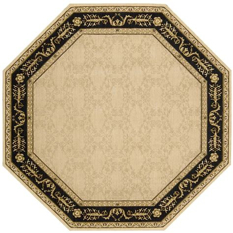 octagon rugs 5 nourison vallencierre 5 6 quot x 5 6 quot beige black octagon rug belfort furniture rugs