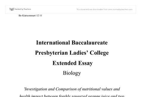 Extended Essay Format by Biology Extended Essay 2009 International Baccalaureate Biology Marked By Teachers