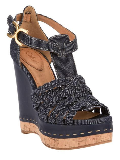 Boots Wedges Denim chlo 233 denim wedge sandal in blue lyst