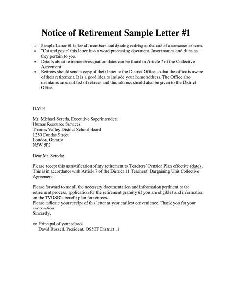 Samples Of Retirement Letters