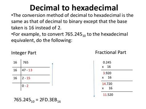 converter hexadecimal to decimal decimal number system