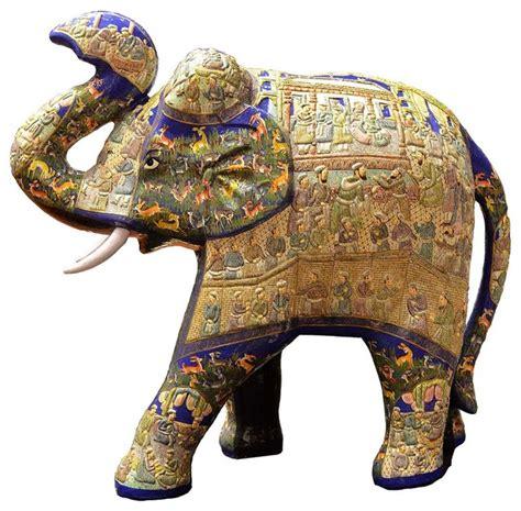 Blue Decorative Papier Mache Embossed Elephant Sculpture