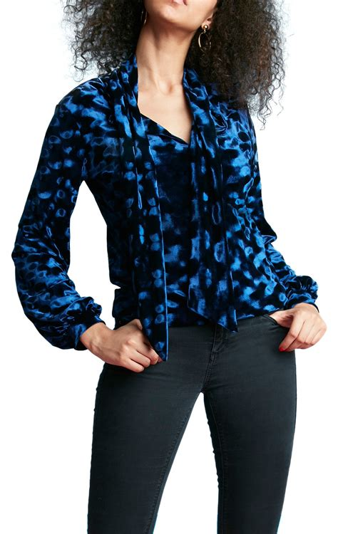 jenner shirt long sleeve navy blue velvet blouse