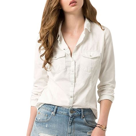 S White Sleeve Button Up Blouse by Fashion Sleeve Button Up Shirt White