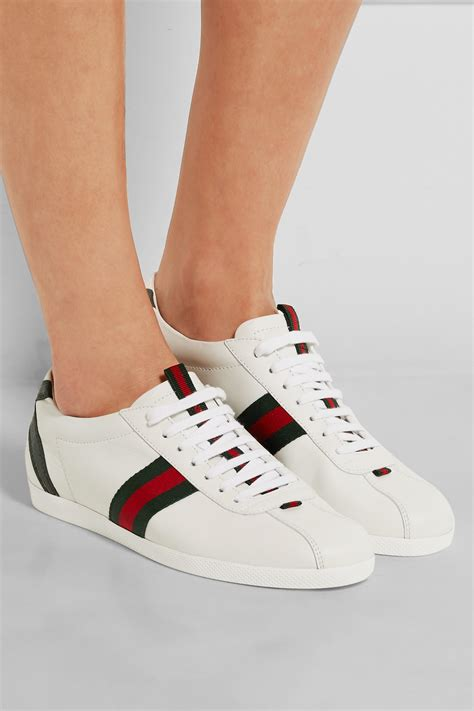 Guc Ci Leather White lyst gucci new ace watersnake trimmed leather sneakers