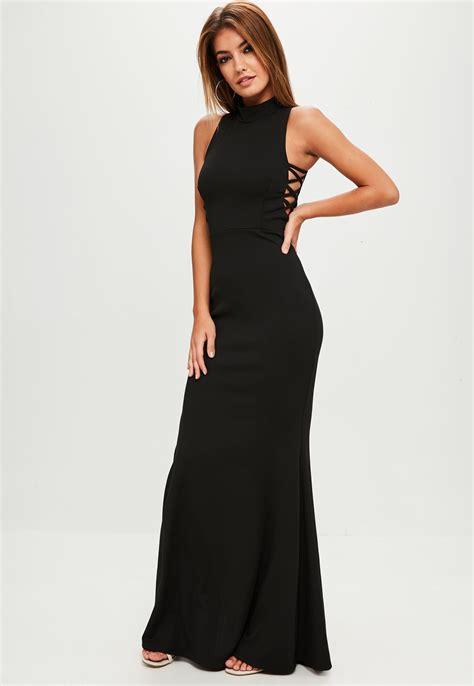 Maxi Longdress Lipat black high neck side maxi dress dresslover uk