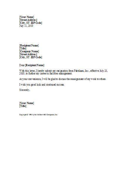 basic professional resignation letter professional