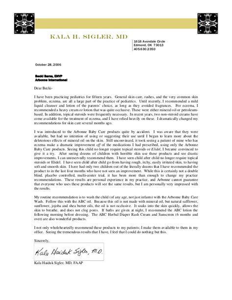 Recommendation Letter For Doctor Arbonne Abc Recommendation Letter Dr Sigler