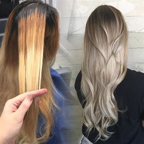 silver blonde color hair toner brassy blonde to platinum silver ombre hotonbeauty com