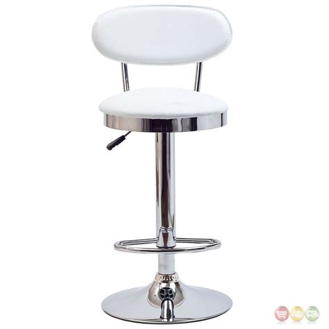 chrome bar stools with back retro modern mid back vinyl bar stool w chrome base white