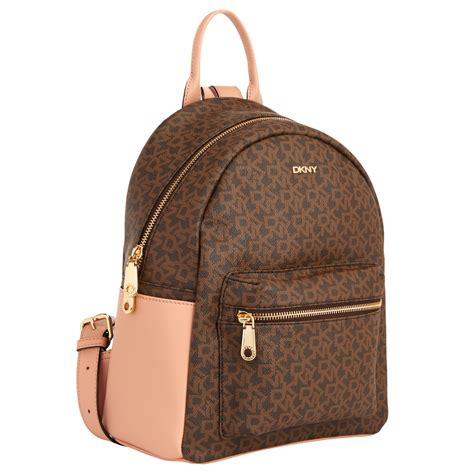 lyst dkny heritage coated leather logo backpack  brown